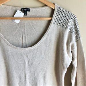 Express Studded Shoulder Cream Sweater